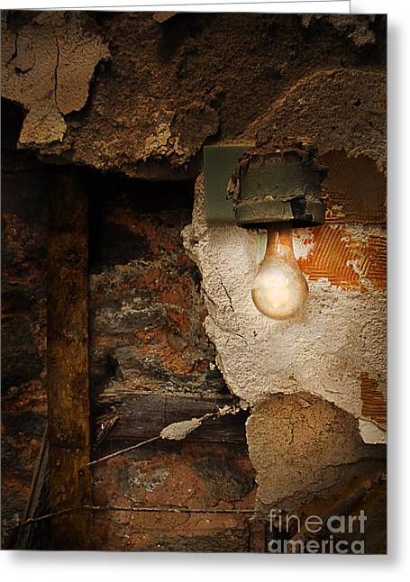 Old Light Fixture On Wall Of Abandoned Building Greeting Card by Jill Battaglia