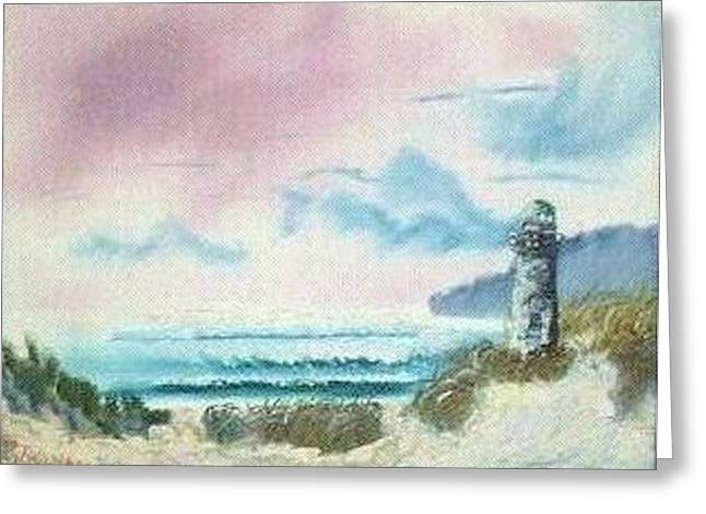 Sanddunes Paintings Greeting Cards - Old Lighthouse by the Sea -129 Greeting Card by Lee Bowman