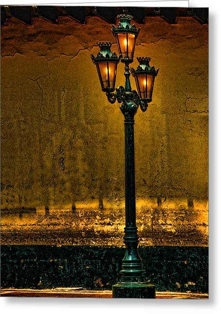 Night Lamp Greeting Cards - Old Lima Street Lamp Greeting Card by Mary Jo Allen