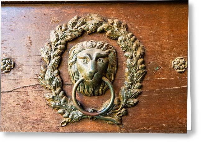 Golden Brown Greeting Cards - Old lion head doorknocker in Prague Greeting Card by Matthias Hauser