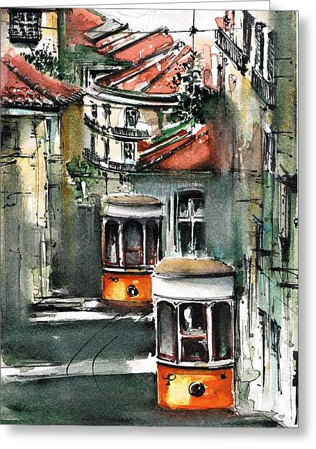 Prague Paintings Greeting Cards - Old Lisbon Greeting Card by Turdean Mircea