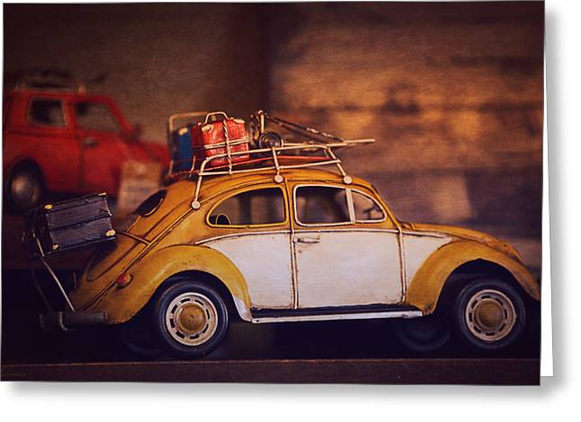 Toy Shop Greeting Cards - Old Little Yellow Car Greeting Card by Maria Angelica Maira