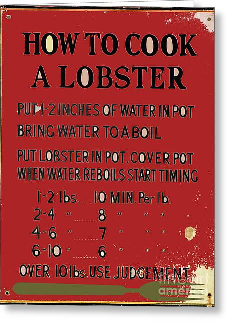 Fish Jewelry Greeting Cards - Old Lobster Recipe Sign Greeting Card by AdSpice Studios