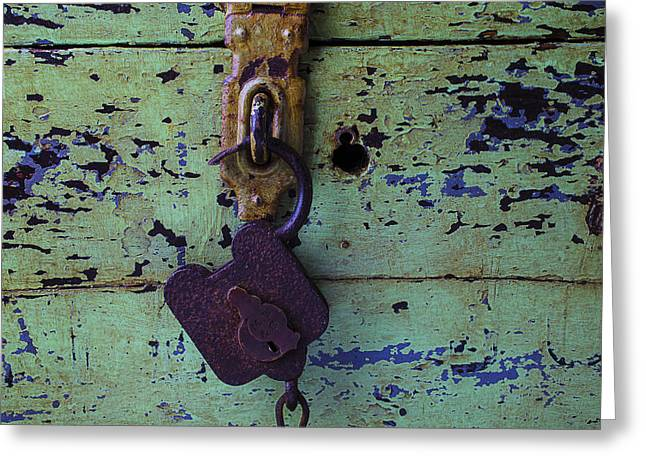 Rusty Greeting Cards - Old Lock and Green Box Greeting Card by Garry Gay