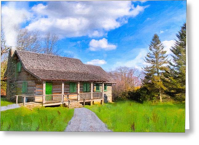 Vintage Log Houses Greeting Cards - Old Log Cabin Atop Brasstown Bald - Georgia Greeting Card by Mark Tisdale