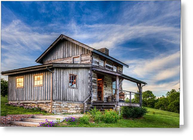 Log Cabins Greeting Cards - Old Log Cabin Greeting Card by Keith Allen