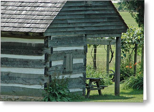 18th Century Greeting Cards - Old Log Cabin with Grape Vine Greeting Card by Bruce Gourley