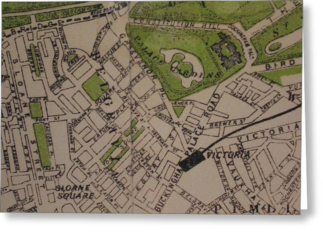 Old London Map Greeting Card by Online Presents