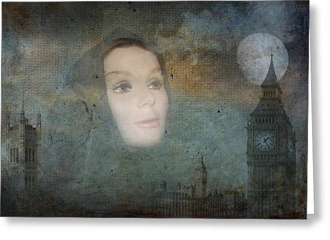 Ghostly Greeting Cards - Old London Towne Greeting Card by Terry Fleckney