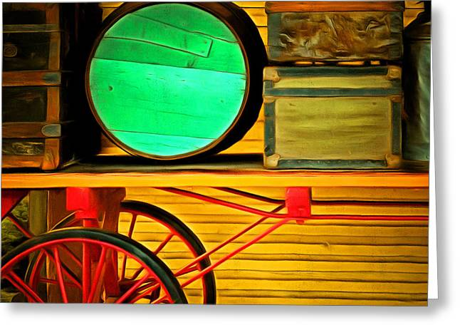 Train Depot Greeting Cards - Old Luggage And Buggy 5D18420 Square Greeting Card by Wingsdomain Art and Photography