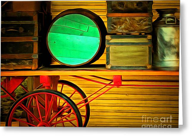 Train Depot Greeting Cards - Old Luggage And Buggy 5D18420 Greeting Card by Wingsdomain Art and Photography