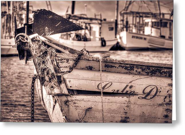 Docked Sailboat Mixed Media Greeting Cards - Old Lulie D Greeting Card by Mark Hazelton