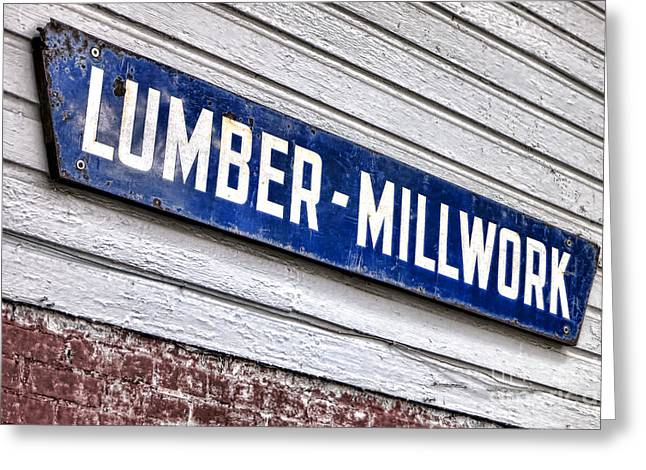 Enamel Greeting Cards - Old Lumberyard Sign Greeting Card by Olivier Le Queinec