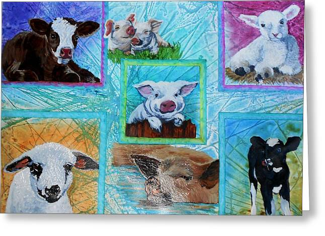 Piglets Mixed Media Greeting Cards - Old MacDonalds Nursery Greeting Card by Liz Borkhuis