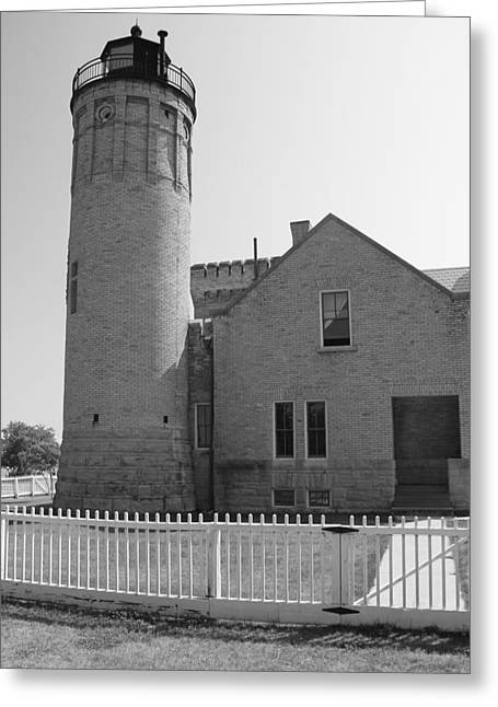 Old Structure Greeting Cards - Old Mackinac Point Light Greeting Card by Dan Sproul
