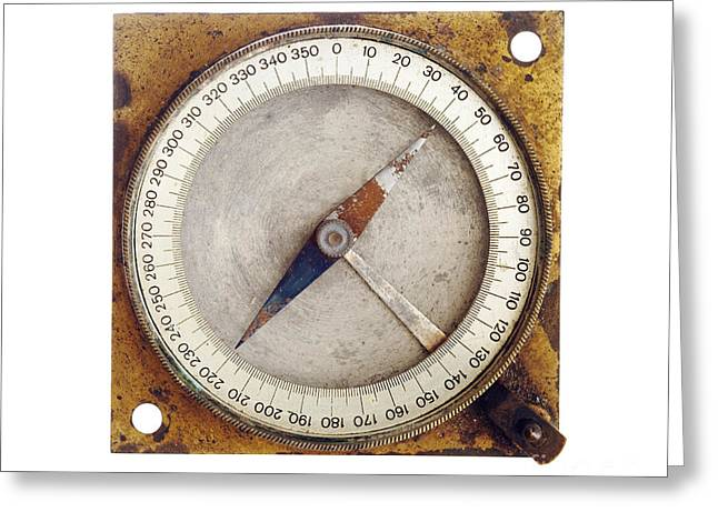 Isolated Object Greeting Cards - Old Magnetic Compass Greeting Card by Michal Boubin