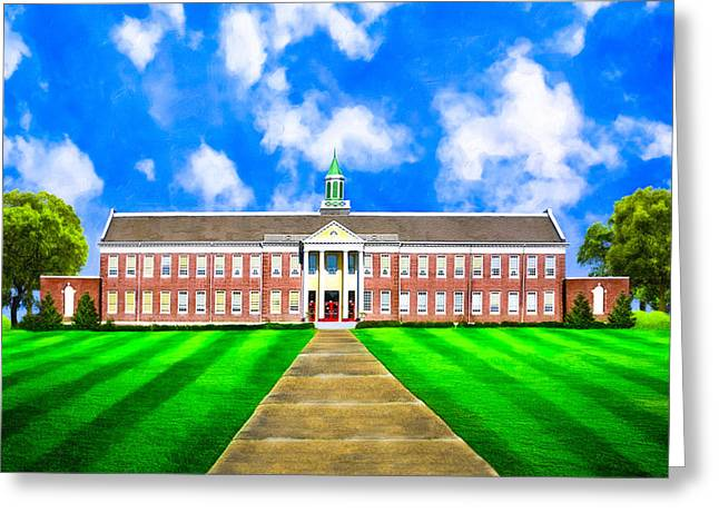 Red School House Greeting Cards - Old Main - Andalusia High School Greeting Card by Mark Tisdale