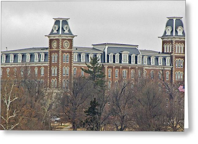 University Of Arkansas Greeting Cards - Old Main Greeting Card by Iris Page