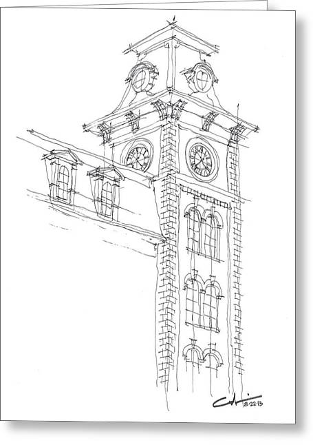 Razorbacks Drawings Greeting Cards - Old Main Study Greeting Card by Calvin Durham