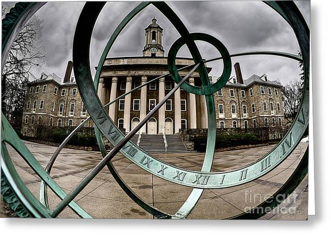 Penn State Greeting Cards - Old Main through the Armillary Sphere Greeting Card by Mark Miller