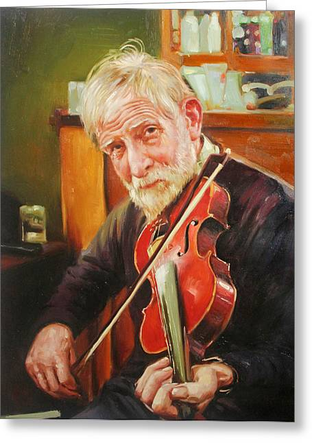 Black Jacket Greeting Cards - Old Man and Fiddle Greeting Card by Conor McGuire