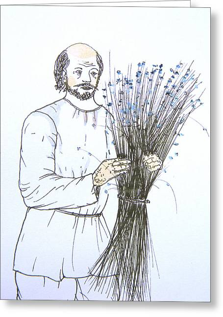 Canadian Photographer Drawings Greeting Cards - Old Man and Flax Greeting Card by Marwan George Khoury