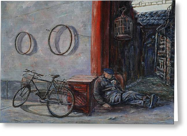 Occupy Greeting Cards - Old Man and His Bike Greeting Card by Xueling Zou