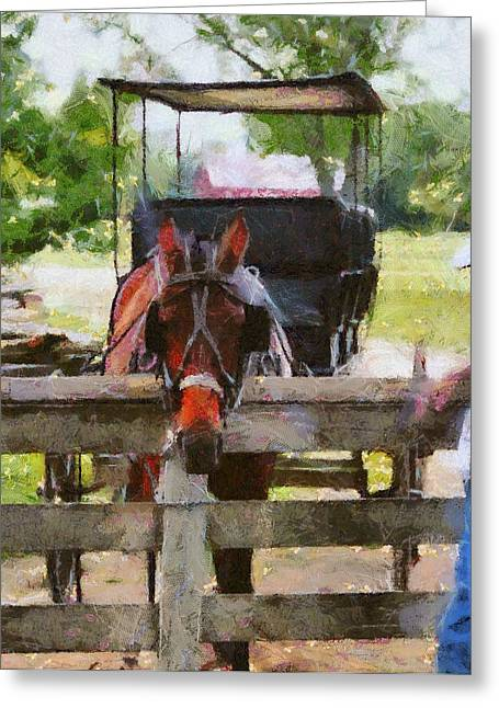 Cute Mixed Media Greeting Cards - Old Man And His Horse Greeting Card by Dan Sproul