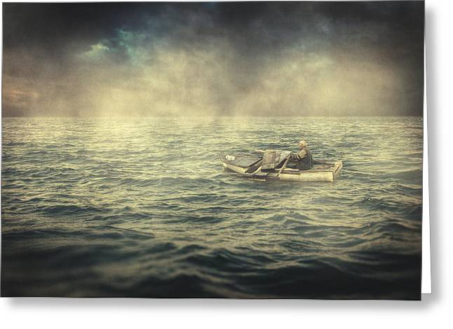 Wooden Ship Greeting Cards - Old man and the sea Greeting Card by Taylan Soyturk