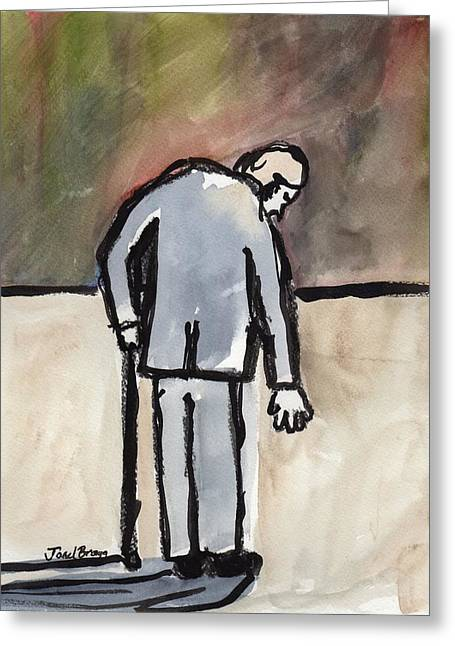 Senior Citizen Drawings Greeting Cards - Old Man at the Deli Greeting Card by Janel Bragg