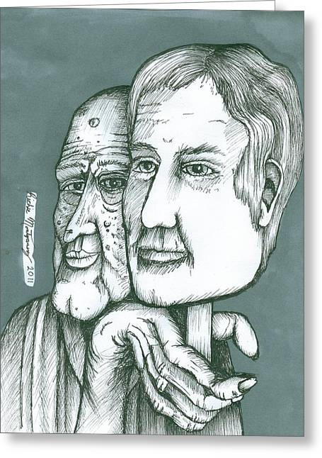 Richie Montgomery Greeting Cards - Old Man Behind A Young Mans Face Greeting Card by Richie Montgomery