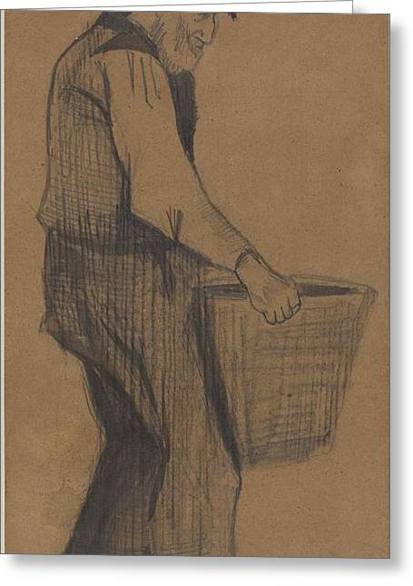 Old Man Carrying A Bucketold Man Carrying A Bucket Greeting Card by Vincent van Gogh