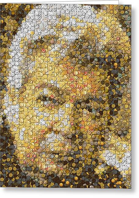 Old Tv Mixed Media Greeting Cards - Old Man Coin Mosaic Greeting Card by Paul Van Scott
