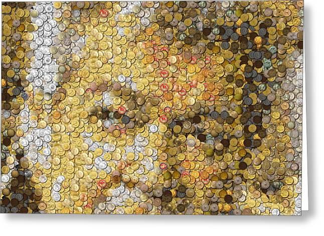 Old Man Coin Mosaic Greeting Card by Paul Van Scott