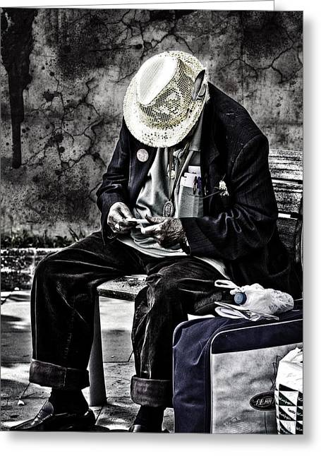 Sorrow Photographs Greeting Cards - Old Man Greeting Card by Erik Brede