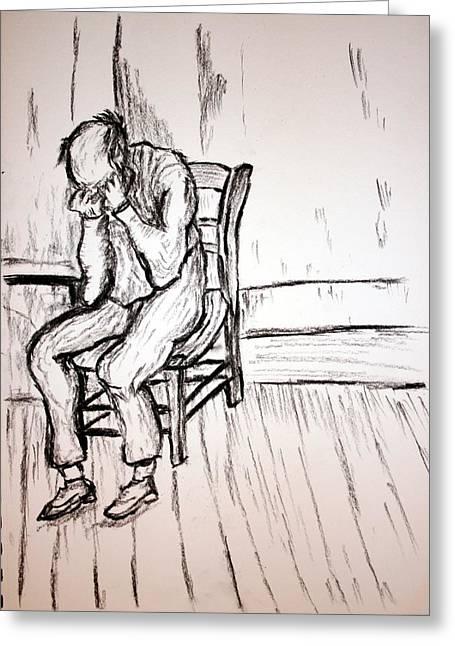 Paul Morgan Greeting Cards - Old Man in Sorrow Greeting Card by Paul Morgan