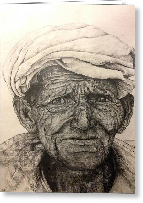 Pensive Drawings Greeting Cards - Wise Man of Rajasthan Greeting Card by Larry Corio