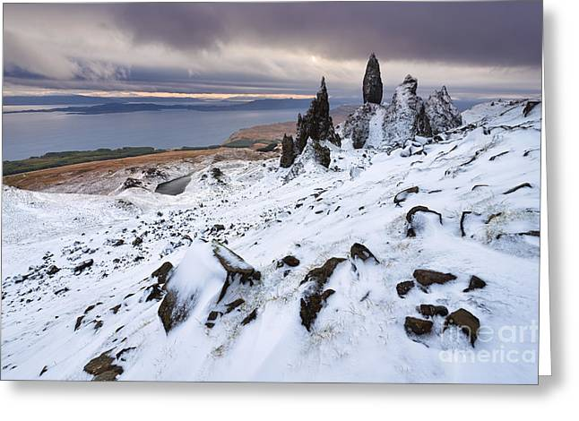 Winter Storm Greeting Cards - Old Man of Storr Greeting Card by Rod McLean