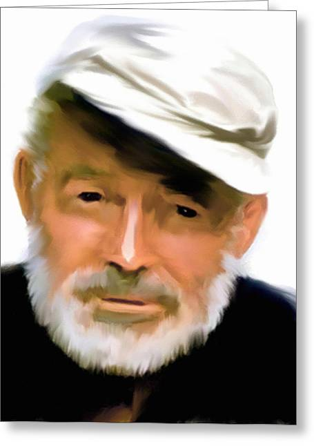 Photographs Drawings Greeting Cards - Old Man of The Sea  Ernest Hemingway Greeting Card by Iconic Images Art Gallery David Pucciarelli