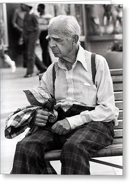 Old Man On 16th Street Mall Greeting Card by Jeffrey Corbin