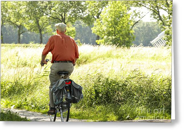 Way Home Greeting Cards - Old man on a bike Greeting Card by Patricia Hofmeester