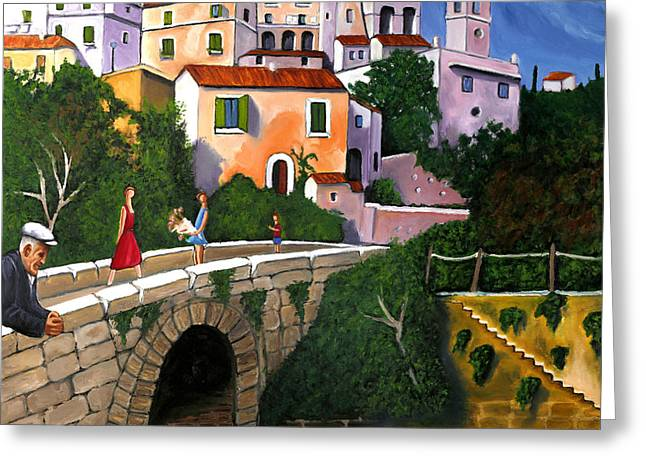 William Cain Greeting Cards - Old Man On Bridge Greeting Card by William Cain