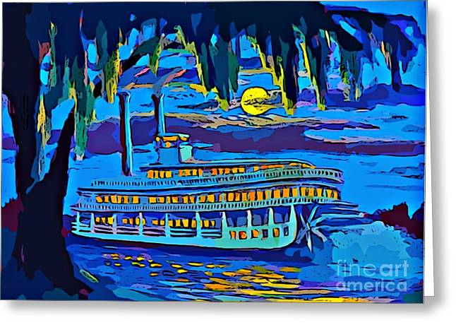 Night Scenes Greeting Cards - Old Man River Greeting Card by John Malone