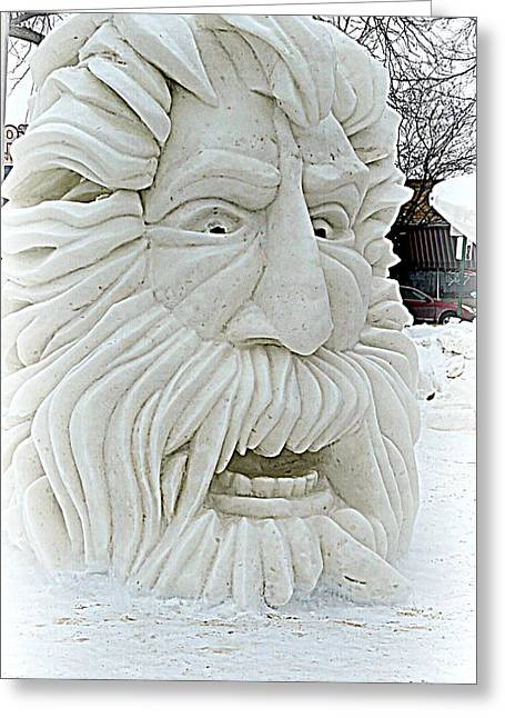 Kkphoto1 Greeting Cards - Old Man Winter Snow Sculpture Greeting Card by Kay Novy