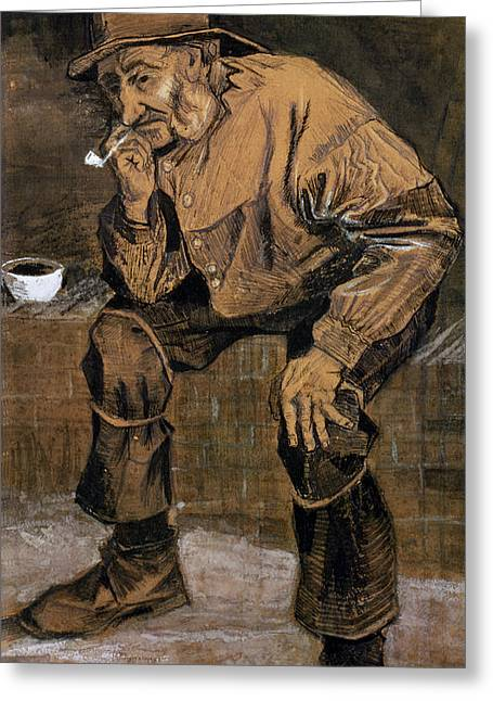 Smoking Greeting Cards - Old Man With A Pipe, 1883 Greeting Card by Vincent van Gogh
