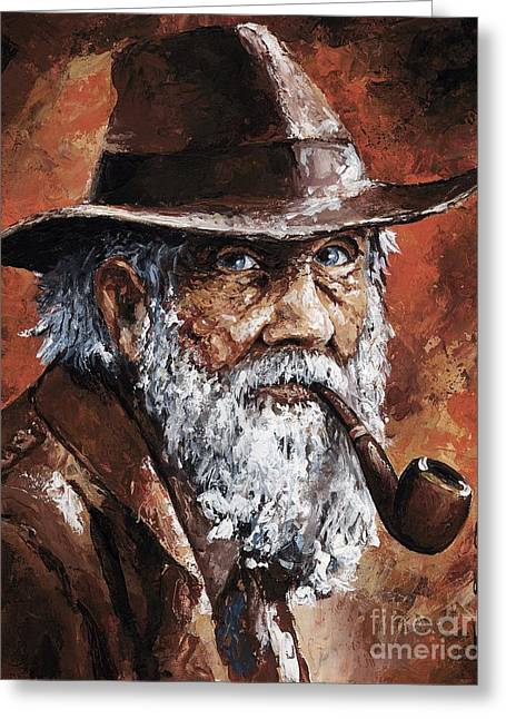 Old Hat Greeting Cards - Old Man with Pipe Greeting Card by Emerico Imre Toth