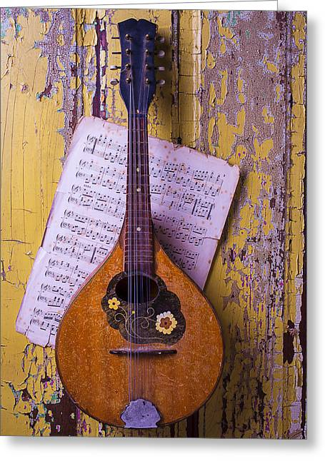Mandolin Greeting Cards - Old Mandolin With Sheet Music Greeting Card by Garry Gay
