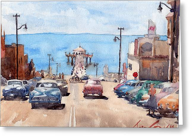 Old Manhattan Beach Greeting Card by Max Good