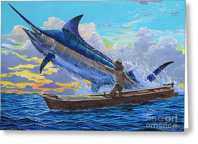 Miami Paintings Greeting Cards - Old Mans battle Off00133 Greeting Card by Carey Chen