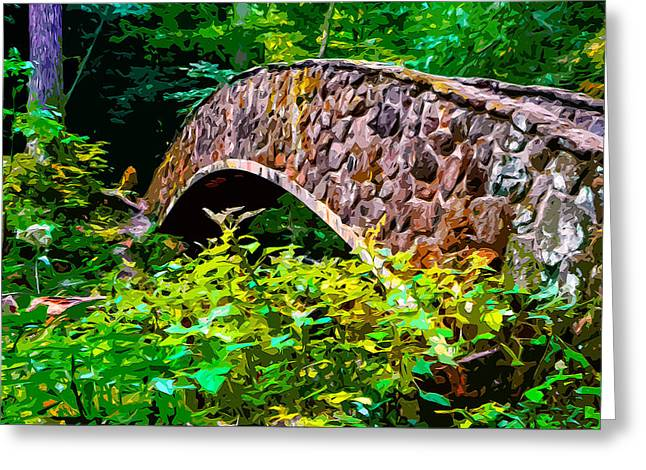 Hike Mixed Media Greeting Cards - Old Mans Cave Bridge 2 Greeting Card by Brian Stevens